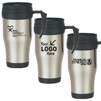 16 Oz. Stainless Steel Travel Mug With Slide Action Lid And Plastic Inner Liner
