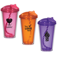 17 Oz. Diamond Double Wall Tumbler With Straw