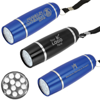 12 LEDs 'Titan' Laser Engraved Aluminum Flashlight with Hand Strap