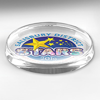 "4 Color Process Oval Glass Award Paperweight - 3"" x 5"" x 3/4"""