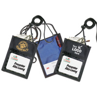 420D Polyester 5 Function Tradeshow Badgeholder and Neck Wallet
