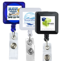 30 Cord Square Retractable Badge Reel with Metal Rotating Alligator Clip Backing and Badge Holder