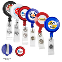 "30"" Cord Round Retractable Badge Reel with Metal Slip Clip Backing and Badge Holder"