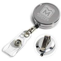 "30"" Cord Chrome Solid Metal Retractable Badge Reel and Badge Holder with Laser Imprint"