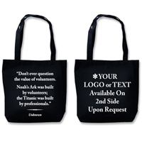 "Recyclable Eco Tote With Quote ""The Value Of Volunteers"""