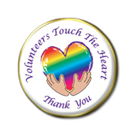 """Volunteers Touch The Heart"" Colored Pin"