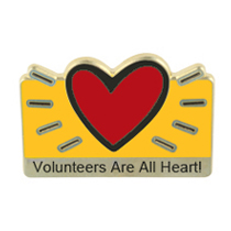 """Volunteers Are All Heart"" Lapel Pin"