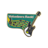 """Volunteers Rock"" Lapel Pin"