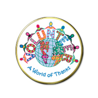 """A World of Thanks"" Volunteer Pins"
