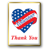"In Stock Patriotic Volunteer Pin / Our famous ""Volunteer Heart"" theme"