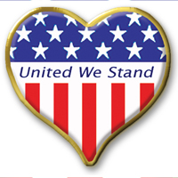 "In Stock Patriotic Heart / ""United We Stand"" theme"