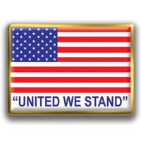 "In Stock Rectangle American Flag / ""United We Stand"" theme"
