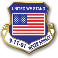 "In Stock Shield Shape / ""United We Stand"" theme"