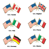 Double Flag Pins American Flag and Any Other Nation