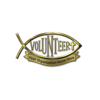 Christian Volunteer Pin with Cross Personalized