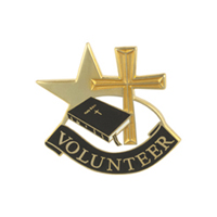 Volunteer Pin w/ Cross, Bible and Star