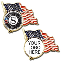 Stock U.S.A. Flag Lapel Pins With Custom Logo