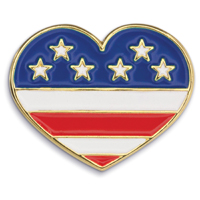 Heart with Flag - Die Struck Patriotic Lapel Pins