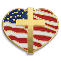 Heart With Cross and Flag - Die Struck Patriotic Lapel Pins
