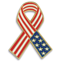 American Flag Ribbon - Die Struck Patriotic Lapel Pins