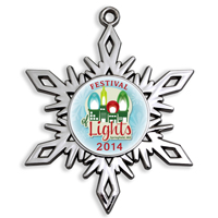 Die Cast Holiday Ornament - High Gloss Nickel Snowflake Shape With Intricate Pierced Details