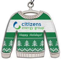 Die Cast Holiday Ornament - Shiny Nickel Finish Ugly Sweater With Epoxy Dome