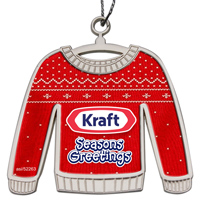 Die Cast Holiday Ornament - Shiny Nickel Finish Ugly Sweater - No Epoxy
