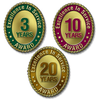 Excellence in Service Awards - 1 Through 30 Years