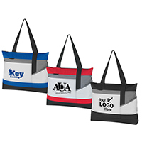 Stylish Meeting Tote Bag - Zipper Closure on Top and Front Panel