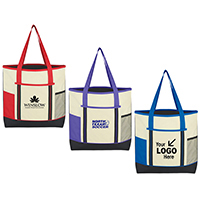 Traditional Tote w/ Bi-Color Accent Design (3 Pockets for convenience)