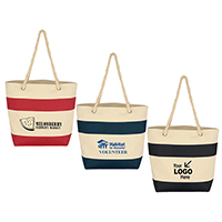 "Stylish, yet Traditional ""Boat Tote "" or ""Cruise Tot  w/ Bi-Color Accent Design & Rope Handles"