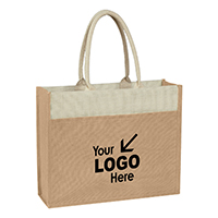 Jute Tote w/ Front Pocket.  (Made with Earth Friendly 100% Pure Natural Jute)