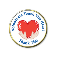 Volunteers Touch The Heart Pins