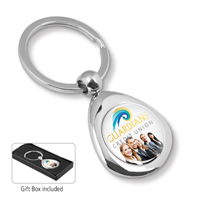 Chrome Infini Laser Engraved Metal Keyholder With Up to 4 Color Process Domed Imprint.