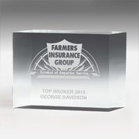 "2307-2S (Screen Print), 2307-2L (Laser), 2307-2P (4Color Process) - 4"" Thick Freestanding Acrylic Awards - 4"""