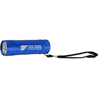 9 LEDs 'Torpedo' Laser Engraved Aluminum Flashlight with Hand Strap