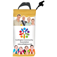 Full Color Sublimation Imprinted Microfiber Cell Phone and Eyeglass Drawstring Pouch