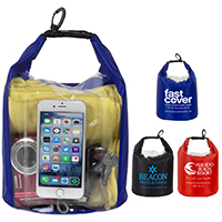"he Navagio"" 5.0 Liter Water Resistant Dry Bag With Clear Pocket Window"