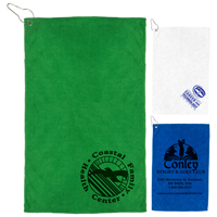 "300 GSM Heavy Duty Microfiber Golf Towel with Metal Grommet and Clip 12""x18"""
