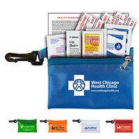 10 Piece Traveler's First Aid Sun Kit in Translucent Vinyl Zipper Pouch