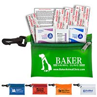 8 Piece Take-A-Long First Aid Kit with Triple Antibiotic Ointment in Translucent Vinyl Zipper Pouch