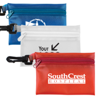 9 Piece Take-A-Long First Aid Kit with Ibuprofen Packet & Triple Antibiotic Ointment in Translucent Vinyl Zipper Pouch
