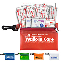 13 Piece On The Go First Aid Kit in Translucent Vinyl Zipper Pouch