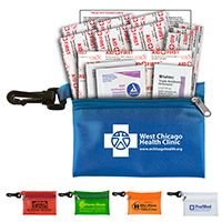 14 Piece On The Go First Aid Kit in Translucent Vinyl Zipper Pouch with Triple Antibiotic Ointment