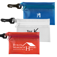 15 Piece Healthy Living Pack Components inserted into Translucent Zipper Pouch with Plastic Carabiner Attachment