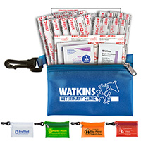 19 Piece Healthy Living Pack Components inserted into Translucent Zipper Pouch with Plastic Carabiner Attachment
