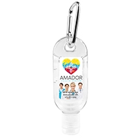 1.8 oz Hand Sanitizer Antibacterial Gel in Flip-Top Bottle with Carabiner (PhotoImage 4 Color)