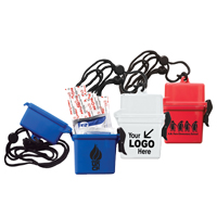 Ultra Thin Hard Plastic Hinged Top Waterproof Container with Breakaway and Adjustable Neck Lanyard