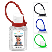 .5 oz Compact Hand Sanitizer Antibacterial Gel in Flip-Top Squeeze Bottle with Colorful Silicone Leash