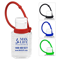 1.0 oz Compact Hand Sanitizer Antibacterial Gel in Flip-Top Squeeze Bottle with Colorful Silicone Leash